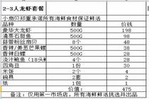 特惠三亚小扇贝2-3人龙虾套餐(仅限第一市场店使用)、买一人代表一个套餐
